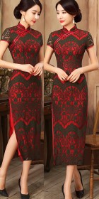 Short-sleeve Long-length Embroidery Gauze Cheongsam (RM)