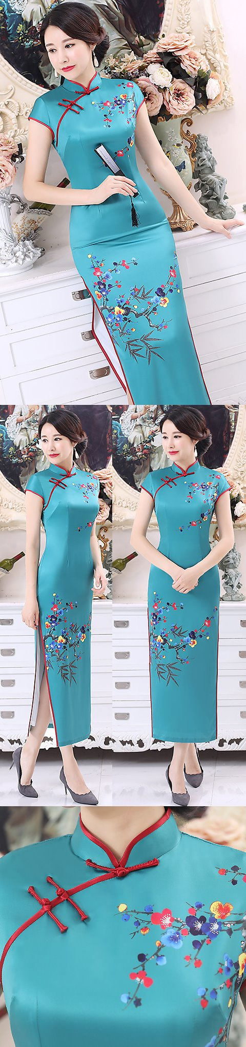 Long-length Silk Printing Cheongsam (RM)