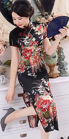 Short-sleeve Long-length Silky Cheongsam (RM)