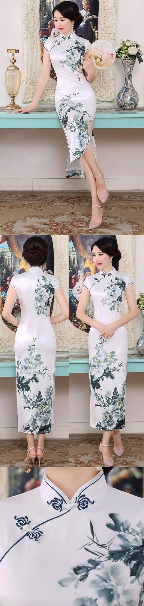 Short-sleeve Long-length Silk Printing Cheongsam (RM)