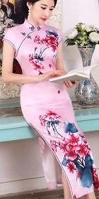 絲綢印花長身旗袍 (成衣)