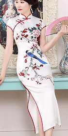 Short-sleeve Long-length Silk Printing Cheongsam (RM)