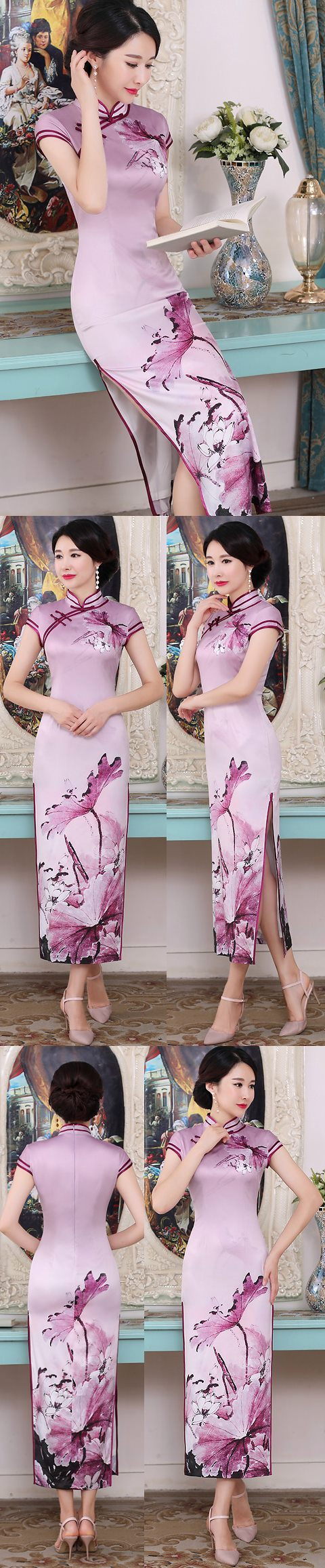 Long-length Silk Printing Cheongsam (RM)