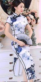 短袖絲綢印花長身旗袍 (成衣)