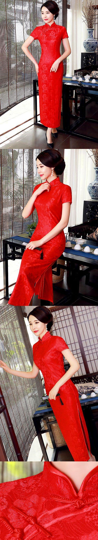 Short-sleeve Long-length Embroidery Gauze Cheongsam (RM)