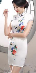 仿絲碗袖短身旗袍 (成衣)