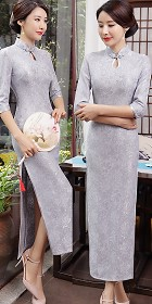 3/4-sleeve Long-length Embroidery Gauze Cheongsam (RM)