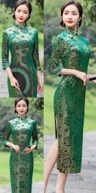 3/4-sleeve Long-length Exquisite Velvet Cheongsam (RM)