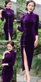 3/4-sleeve Long-length Velvet Cheongsam (RM)