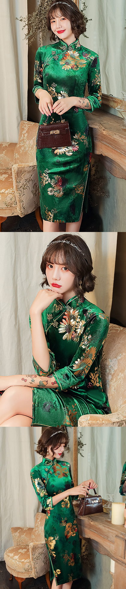 3/4-sleeve Mid-length Velvet Cheongsam (RM)