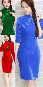 Mid-length Velvet Cheongsam Dress