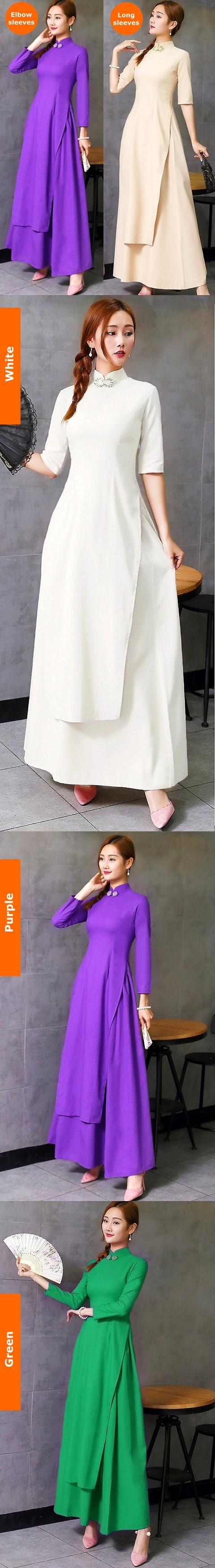 越南棉麻旗袍 - 奧黛(定製)