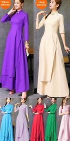 Vietnamese Cotton Linen Cheongsam Outfit - Aodai (CM)