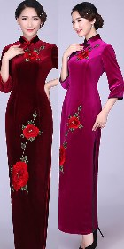 3/4-sleeve Long-length Velvet Cheongsam (RM/CM)
