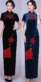 Short-sleeve Long-length Velvet Cheongsam (RM/CM)