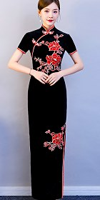 Velvet Embroidery Long-length Cheongsam (CM)