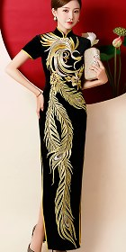 Gorgeous Phoenix Embroidery Long-length Cheongsam (CM)