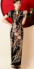 Gorgeous Paillettes Embroidery Long-length Cheongsam (CM)