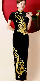 Gorgeous Dragon Phoenix Embroidery Long-length Cheongsam (CM)
