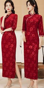 Gorgeous 3/4-sleeve Long-length Velvet Cheongsam (RM)