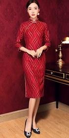 華麗7分袖中長身絲絨旗袍 (成衣)