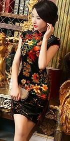 Short-sleeve Short-length Velvet Cheongsam (RM)