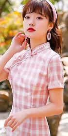 短袖中長身格子旗袍 (成衣)