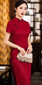 Embroidery Gauze Long-length Cheongsam (RM)