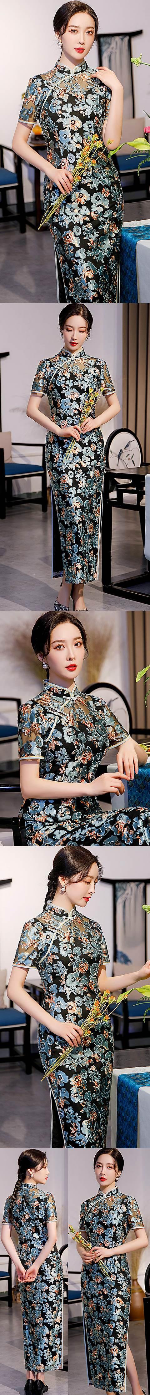 Short-sleeve Long-length Velvet Gauze Cheongsam (RM)
