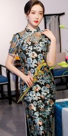 Short-sleeve Long-length Velvet Gauze Cheongsam (RM)