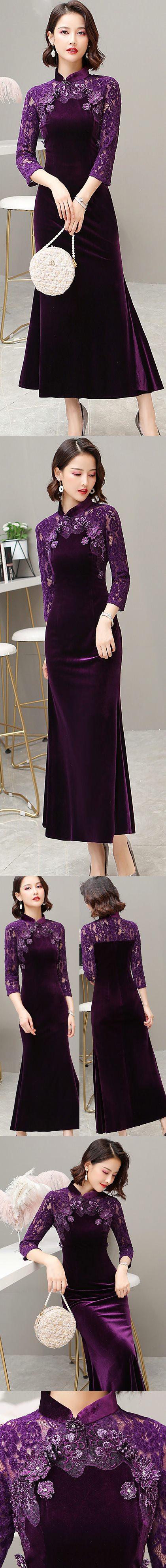 Long-sleeve Magnificent Velvet Cheongsam (RM)