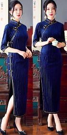 Magnificent Emboss Velvet 3/4-sleeve Cheongsam (RM)