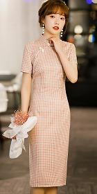 Short-sleeve Mid-length Checkered Cheongsam (RM)