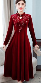 長袖A裙款絲絨刺繡旗袍 (成衣)