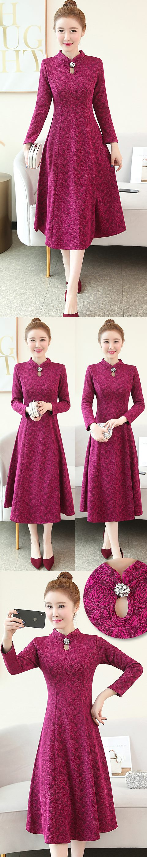 Long-sleeve A-line Embossed Embroidery Cheongsam (RM)