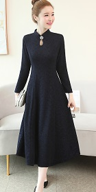 Long-sleeve A-line Embossed Embroidery Cheongsam - Dark Navy (RM)