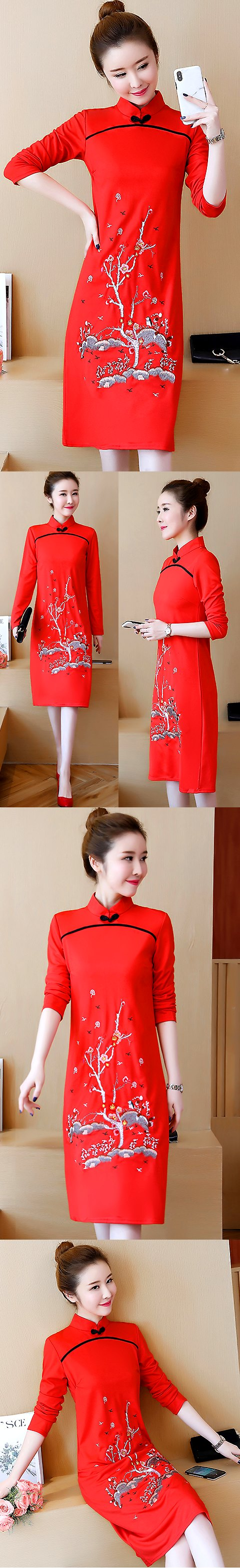 Long-sleeve Plum Blossom Embroidery Cheongsam (RM)