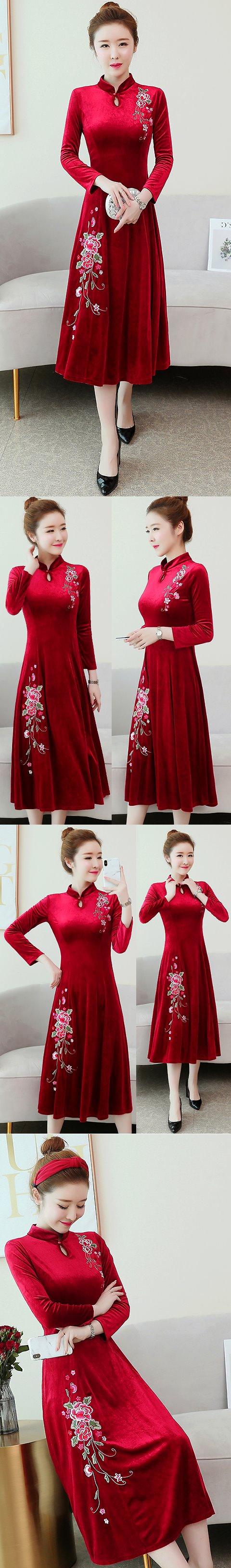 Long-sleeve A-line Velvet Cheongsam (RM)
