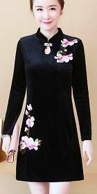 長袖A裙款絲絨旗袍 (成衣)