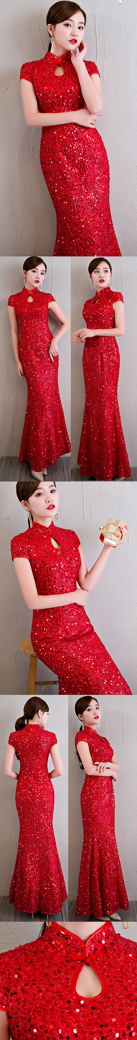 Paillettes Long-length Prom Cheongsam (RM)