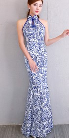 Cut-in-shoulder Long-length Prom Cheongsam (RM)