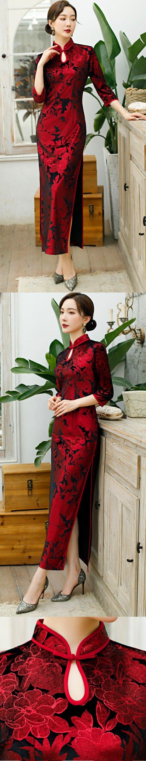 Elbow-sleeve Long-length Velvet Cheongsam (RM)
