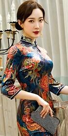 六分袖長身金絲絨旗袍 (成衣)