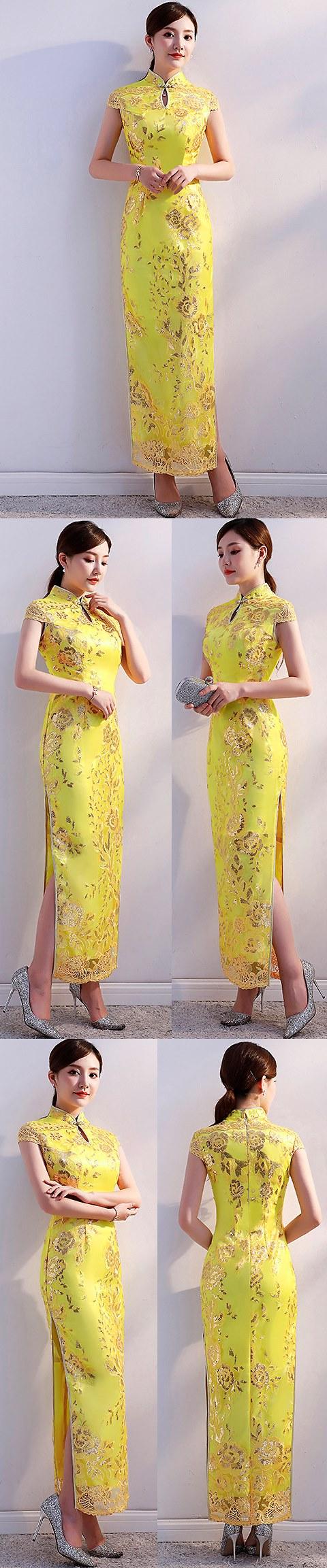 Cup-sleeve Long-length Prom Cheongsam (RM/CM)
