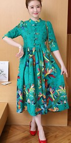 Ethnic Cotton Linen Pleated Cheongsam Dress (RM)