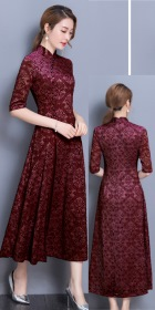 Long-length Dual-layer Embroidery Gauze Cheongsam (RM)
