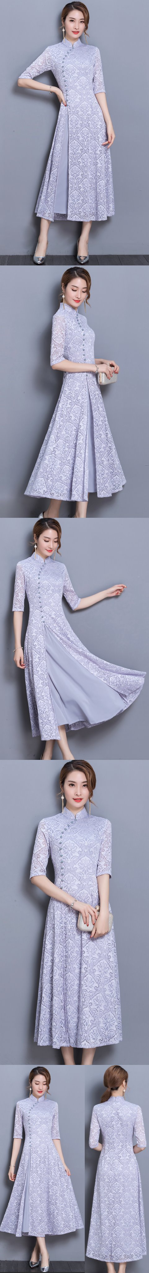 Long-length Dual-layer Embroidery Gauze Cheongsam (RM)