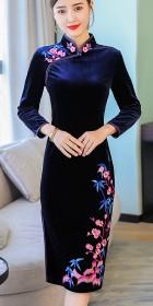 長袖絲絨旗袍 (成衣)