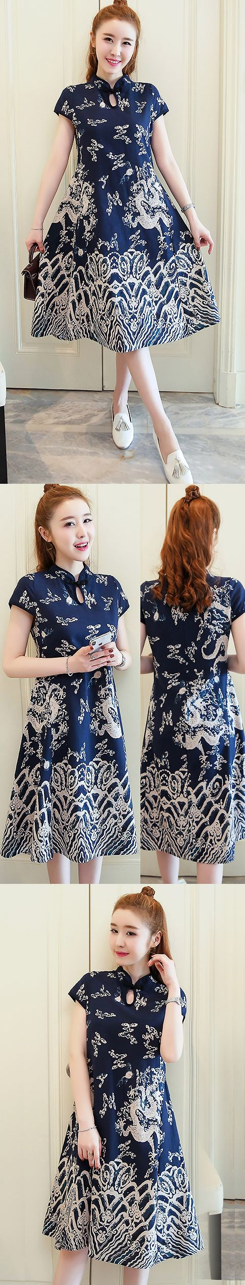 Ethnic Dragon-printing Dress-Navy Blue (RM)