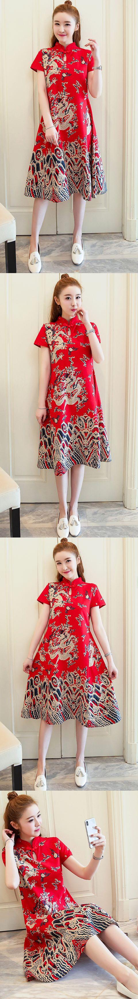 Ethnic Dragon-printing Dress-Red (RM)